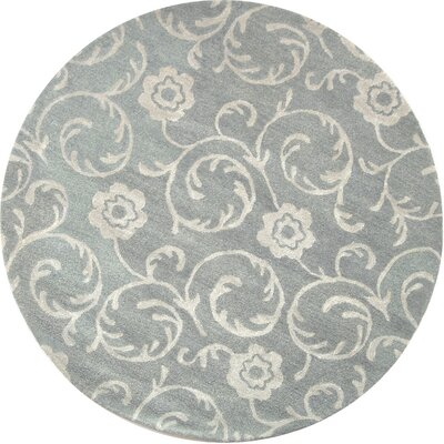 Soho Light Blue/Silver Area Rug Rug Size: Round 6'