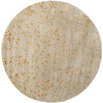 Alvan Hand-Tufted Beige/Orange Area Rug Rug Size: Round 6