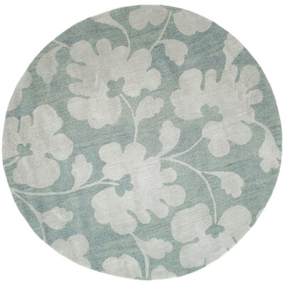 Soho Light Blue/Silver Area Rug Rug Size: Round 6