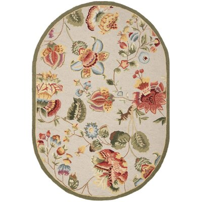 Helena Hand-Hooked Beige Area Rug Rug Size: Round 56