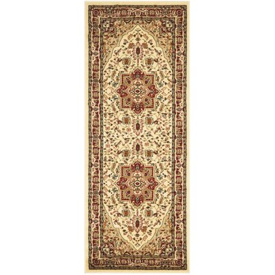 Theresa Ivory/Red Area Rug Rug Size: Runner 23 x 22