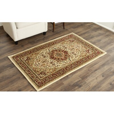 Theresa Ivory/Red Area Rug Rug Size: Rectangle 33 x 53