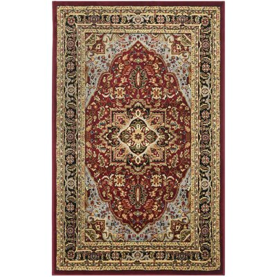 Ottis Mary Red & Black Area Rug Rug Size: Rectangle 33 x 53