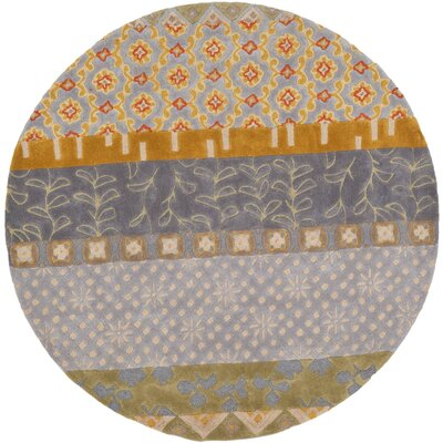 Grosvenor Hand-Tufted Gray/Brown Area Rug Rug Size: Round 59