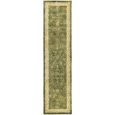 Silk Road Spruce/Ivory Area Rug Rug Size: Runner 26 x 8