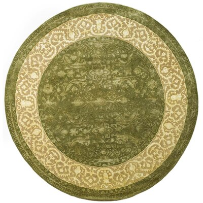 Silk Road Spruce/Ivory Area Rug Rug Size: Round 6