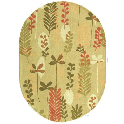 Berkeley Taupe/Green Area Rug Rug Size: Oval 46 x 66