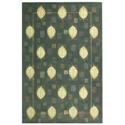 Berkeley Blue Leaves Area Rug Rug Size: 79 x 99