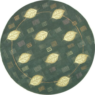 Berkeley Blue Leaves Area Rug Rug Size: Round 5'6