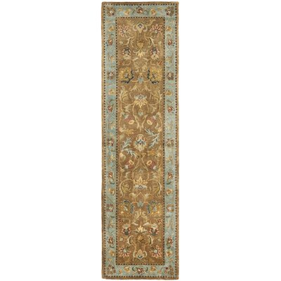 Bergama Hand-Woven Wool Brown/Blue Area Rug Rug Size: Runner 23 x 8