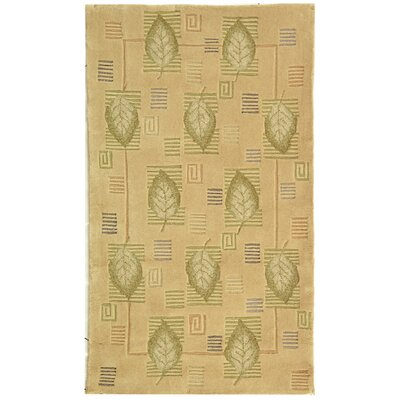 Berkeley Beige Leaves Area Rug Rug Size: 5'3
