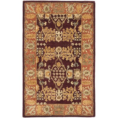 Bergama Red/Rust Area Rug Rug Size: Rectangle 3 x 5