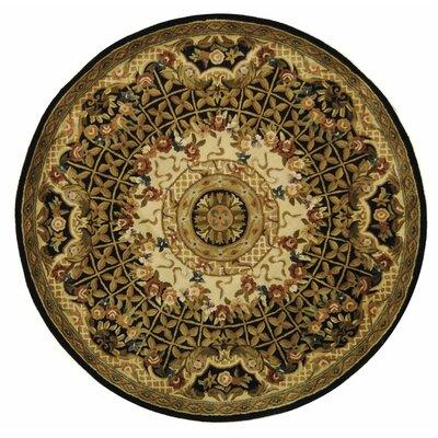 Classic Josephine Black/Gold Rug Rug Size: Round 3'6