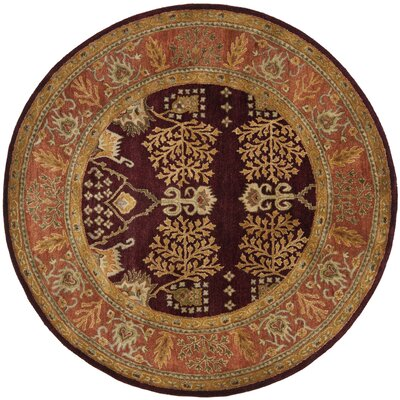 Bergama Red/Rust Area Rug Rug Size: Round 6'