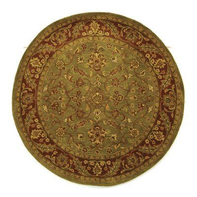 Jaipur Hand-Tufted Wool Green/Rust Area Rug Rug Size: Round 5