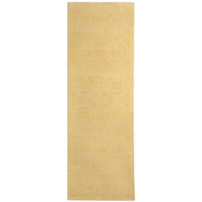 French Tapis Gold Floral Area Rug Rug Size: Runner 23 x 10