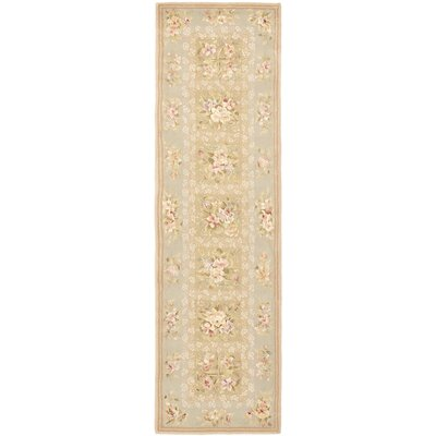 French Tapis Sand/Green Floral Area Rug Rug Size: Runner 23 x 10