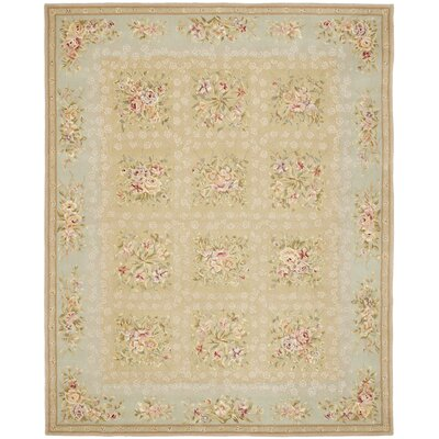French Tapis Sand/Green Floral Area Rug Rug Size: Rectangle 4 x 6
