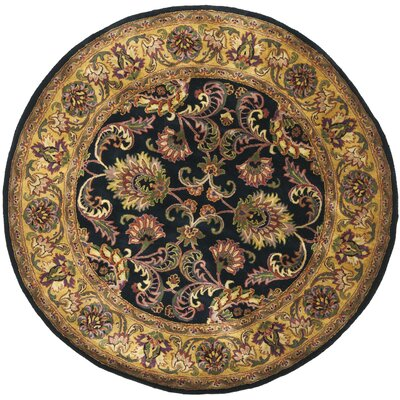 Golden Jaipur Antiquity Black/Gold Area Rug Rug Size: Round 6'