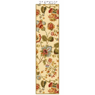 Isabella Ivory/Red Area Rug Rug Size: Runner 26 x 10