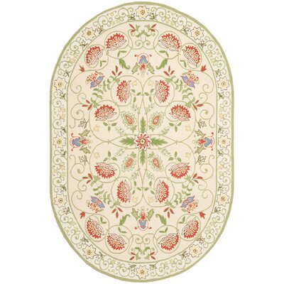 Kinchen Beige/Green Rug Rug Size: Rectangle 39 x 59