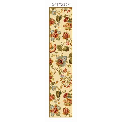 Kinchen Ivory/Red Area Rug Rug Size: Runner 2'6