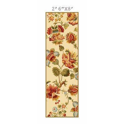 Isabella Ivory/Red Area Rug Rug Size: Runner 26 x 8