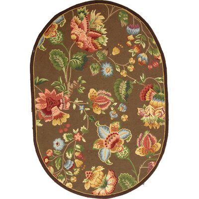 Kinchen Brown Area Rug Rug Size: Oval 76 x 96