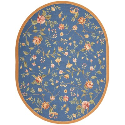 Kinchen Blue/Green Area Rug Rug Size: Oval 46 x 66