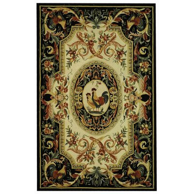 Kinchen Ivory/Black Novelty Area Rug Rug Size: Rectangle 89 x 119