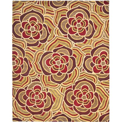 Blossom Hand Hooked Wool Beige/Red Area Rug Rug Size: Rectangle 8 x 10