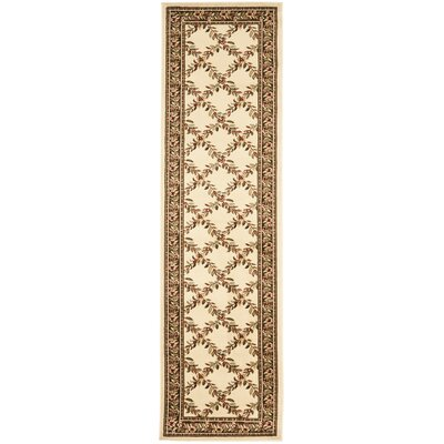 Taufner Ivory/Brown Checked Area Rug Rug Size: Runner 2'3