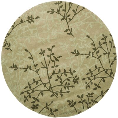 Soho Green Floral Area Rug Rug Size: Round 6
