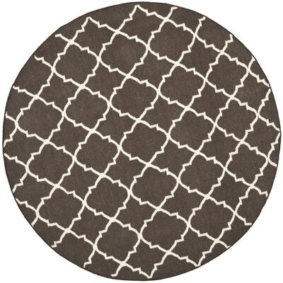 Dhurries Hand-Woven Wool Brown/Ivory Area Rug Rug Size: Round 8