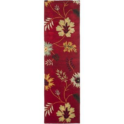 Jardin Red/Multi Floral Rug Rug Size: Runner 2'3