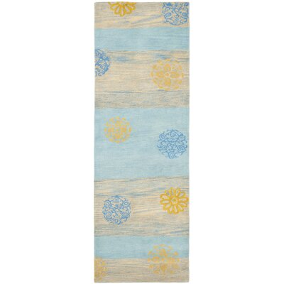Soho Blue Stripe Area Rug Rug Size: Runner 26 x 8