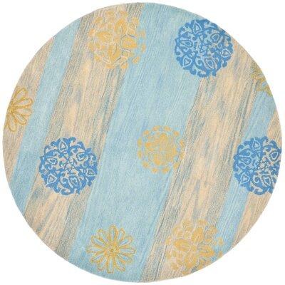 Soho Blue Stripe Area Rug Rug Size: Round 6