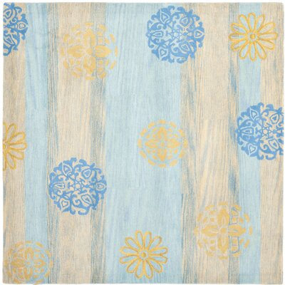 Soho Blue Stripe Area Rug Rug Size: Square 6