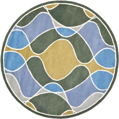 Soho Grey Swirl Area Rug Rug Size: Round 6
