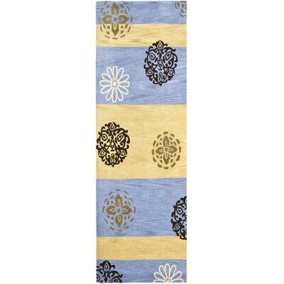 Soho Gold/Blue Area Rug Rug Size: Runner 26 x 8
