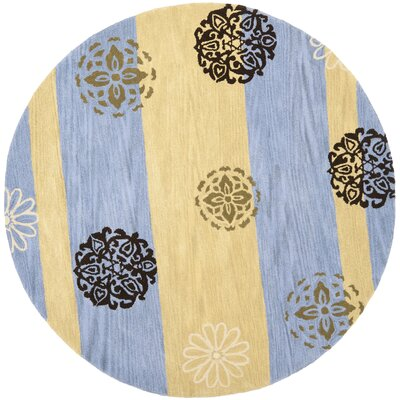 Soho Gold/Blue Area Rug Rug Size: Round 6
