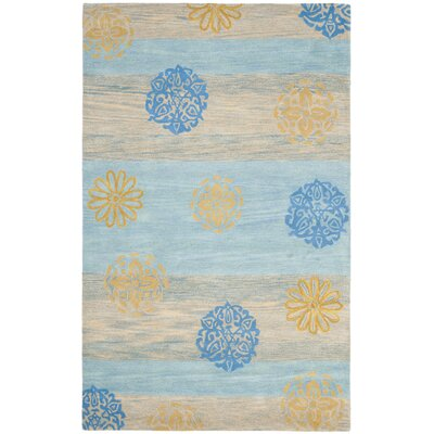 Soho Blue Stripe Area Rug Rug Size: Rectangle 5 x 8
