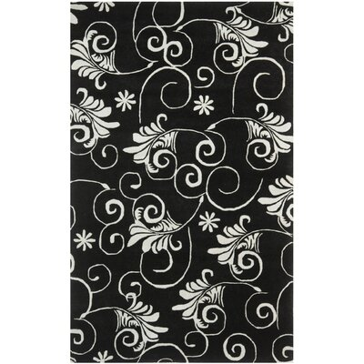 Soho Black/Ivory Area Rug Rug Size: Rectangle 5 x 8