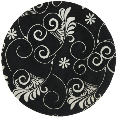 Soho Black/Ivory Area Rug Rug Size: Round 6