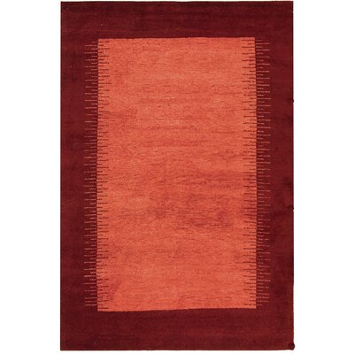 Gabbeh Assorted Hand-Knotted Tan/Red Area Rug Rug Size: 3' x 5'