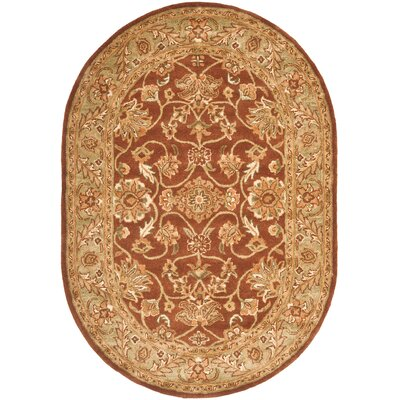 Golden Jaipur Rust/Green Area Rug Rug Size: Oval 46 x 66