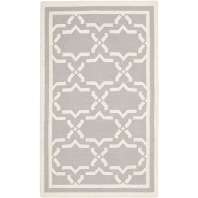 Dhurries Hand-Woven Wool Purple/Ivory Area Rug Rug Size: Rectangle 4 x 6