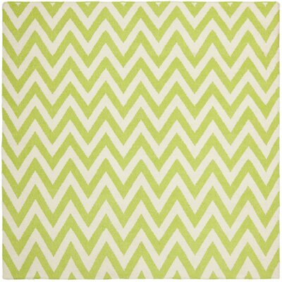 Moves Like Zigzagger Hand-Woven Wool Green/Ivory Area Rug Rug Size: Square 6