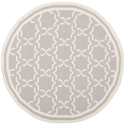 Dhurries Hand-Woven Wool Purple/Ivory Area Rug Rug Size: Round 6