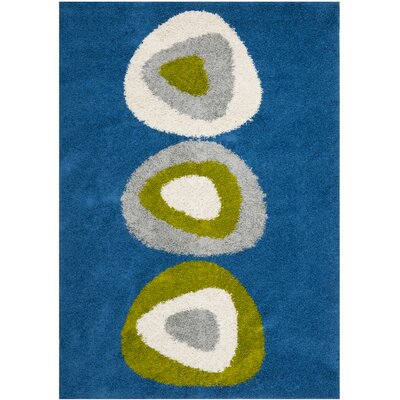 Shag Wool Blue Area Rug Rug Size: Rectangle 4 x 6